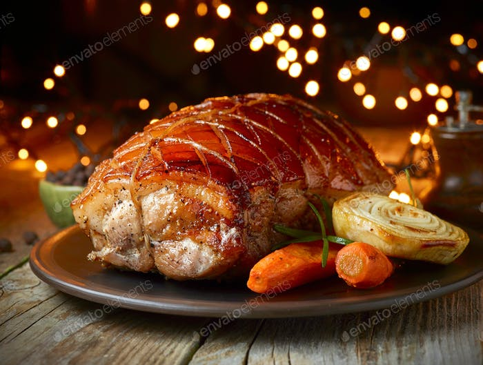 roasted pork and vegetables