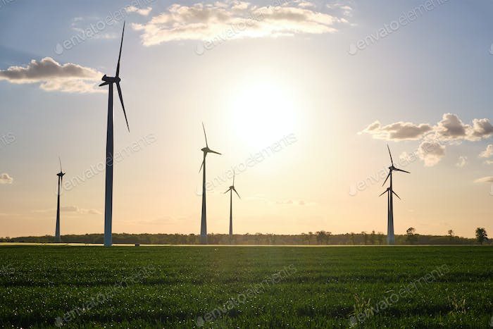Landscape with modern wind turbines