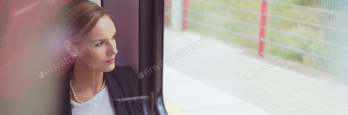 Businesswoman on a train