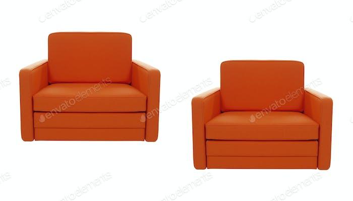 Orange chairs isolate on white