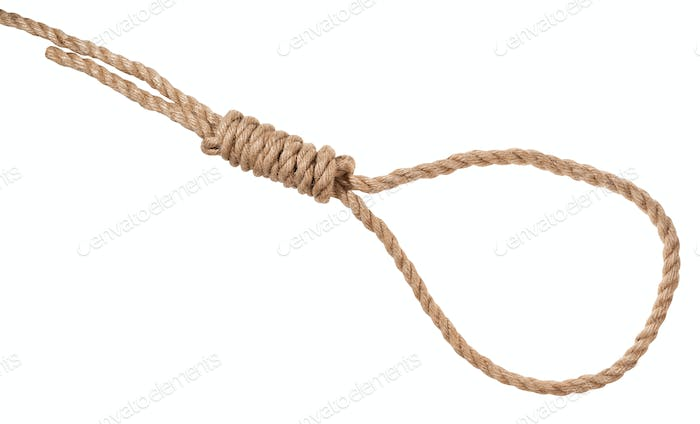 hangman's knot tied on thick jute rope isolated
