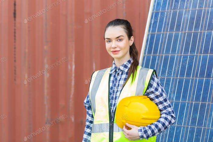Portrait of Caucasian female engineer at construction site