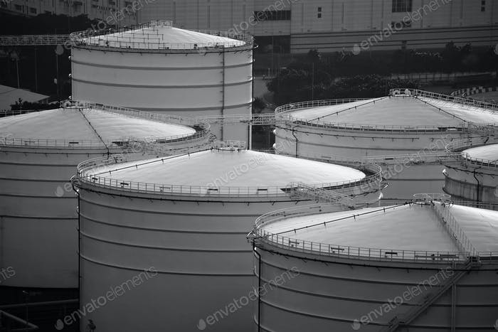 Oil tank in monochrome