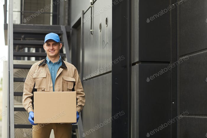 Delivery person with parcel