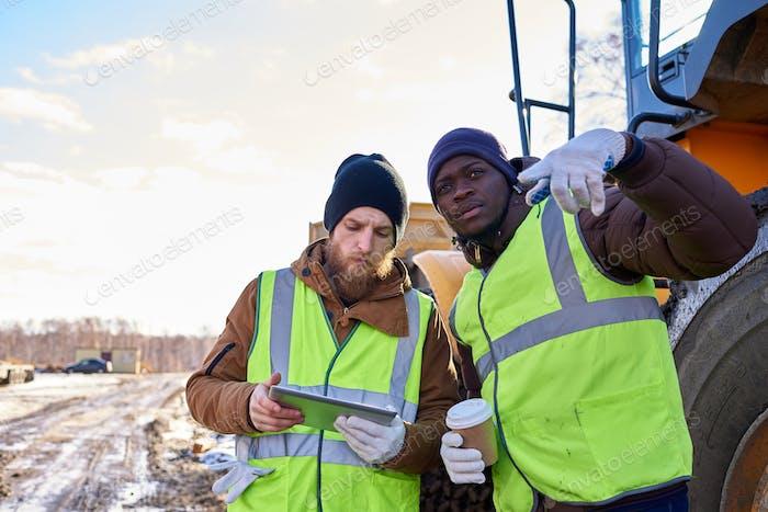 Bergleute Besatzung vor Ort