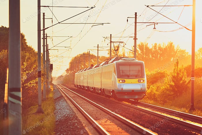 Railway at the amazing sunset