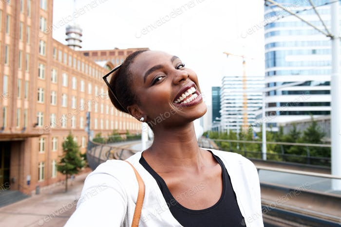 Selfie portrait of happy young african american woman