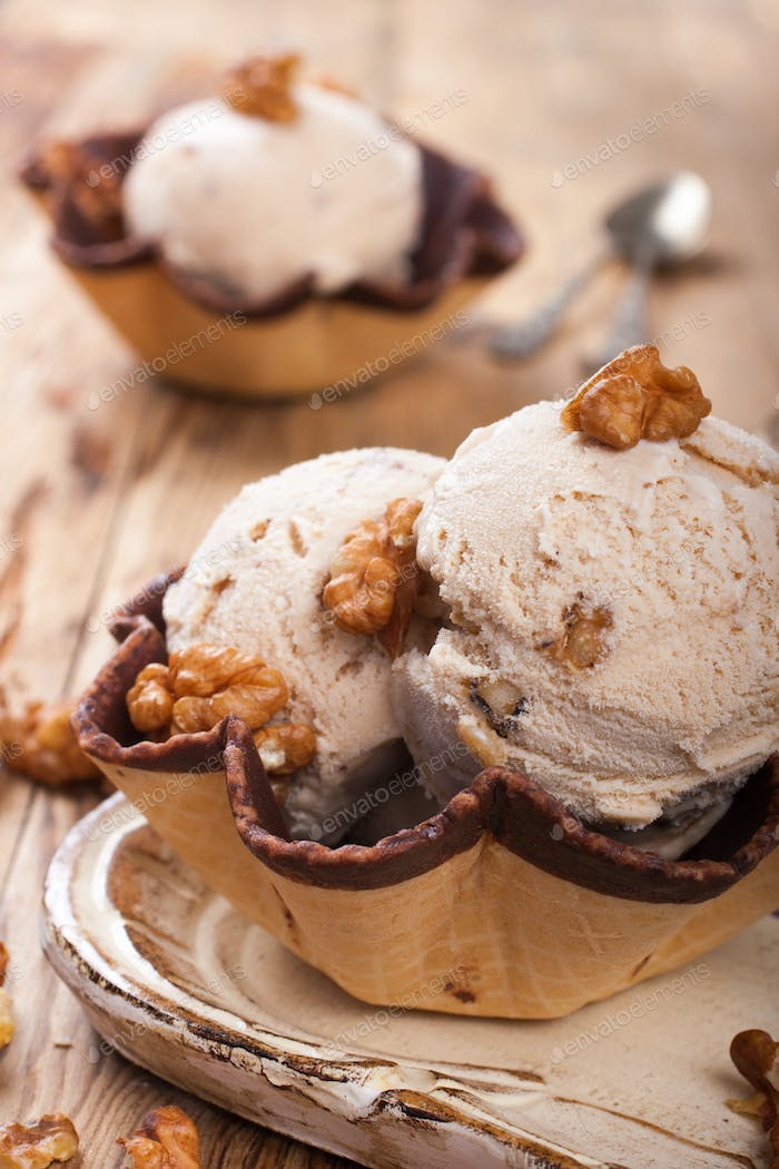 Fresh nut ice cream in waffle cup