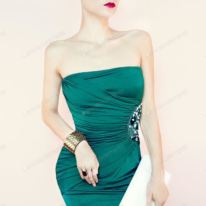 Portrait of sensual woman in evening dress