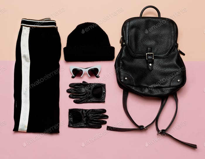 Fashion Black Outfit Accessories For Women. Beanie Backpack Urb
