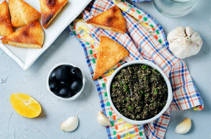 Black Olive Tapenade with roasted pita