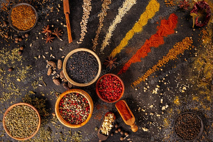Colourful various herbs and spices