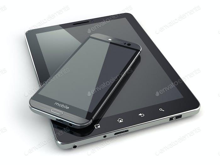 Mobilgeräte. Smartphone und Tablet-PC auf weißem isoliertem Backg