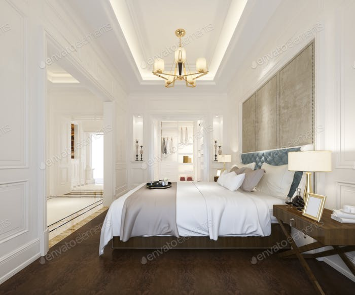 3d rendering luxury classic bedroom suite in hotel with wardrobe and walk in closet