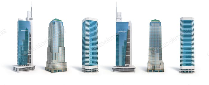 Set of different skyscraper buildings isolated on white.