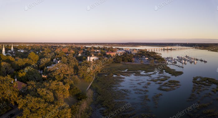 Aerial panorama of Beaufort, South Carolina taken during the gol