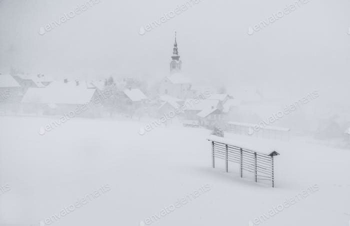 Winter and snow in the countryside villages