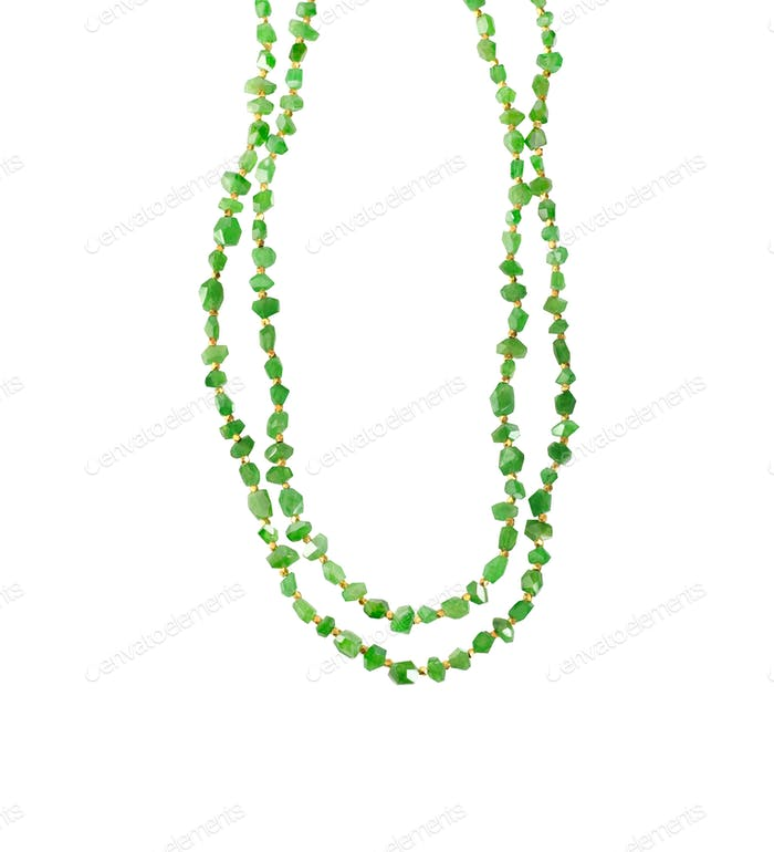 Green Gemstone Pendant Necklace beaded jade