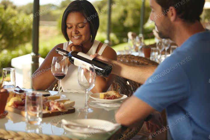 Couple having wine at winery restaurant