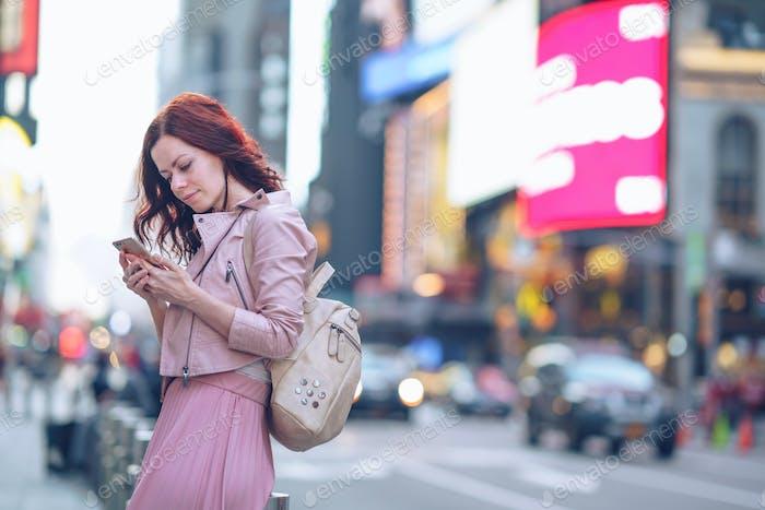 Traveling girl in Manhattan