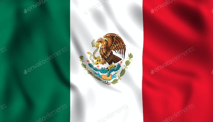 Mexican flag waving in the wind.