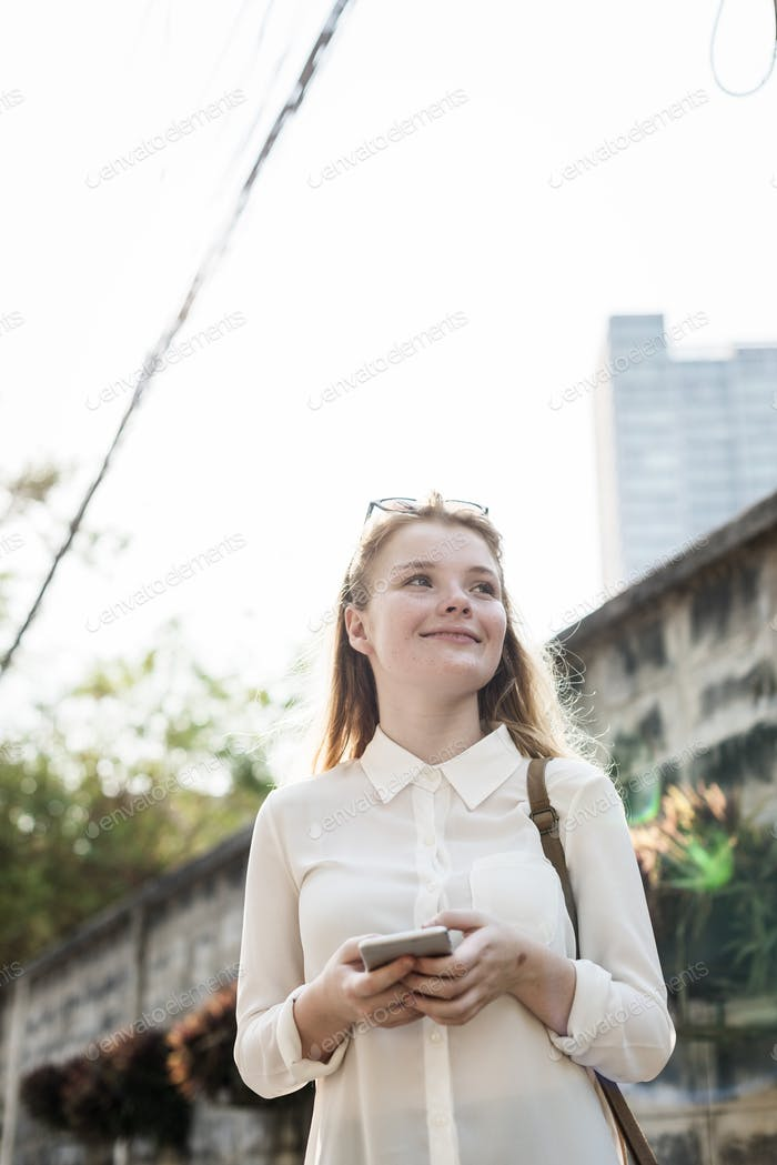 Girl Browsing Phone Connection Concept