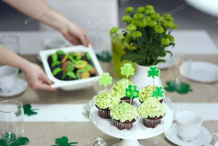 Tasty cupcake on the table