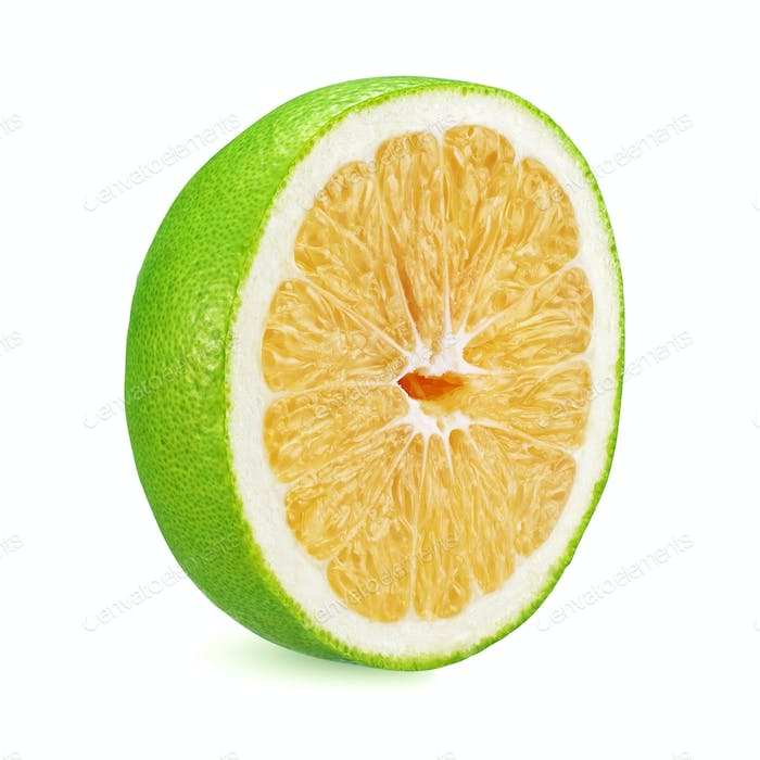 Half of green grapefruit isolated on white background