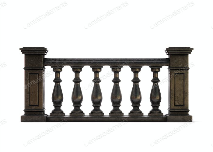 Front view black marble balustrade on white background. 3d rende