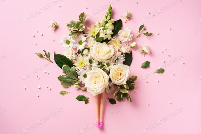 Doll legs and white rose, flowers, leaves on pink background. Contemporary art collage. Spa, body