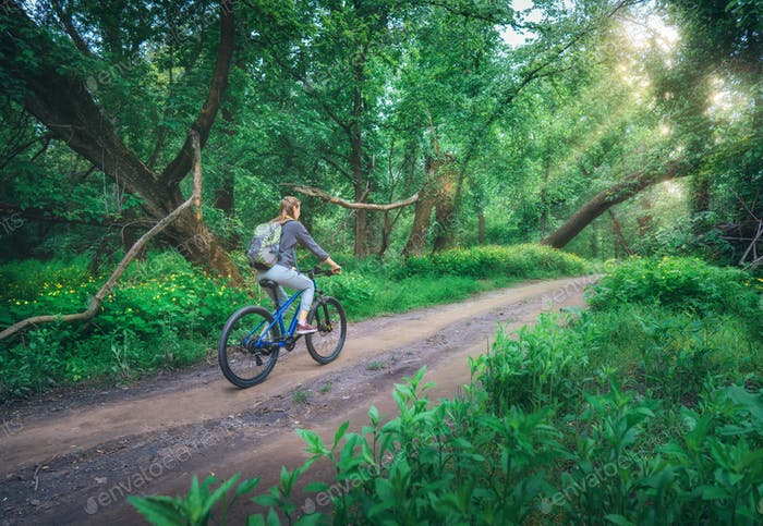 Woman riding a bicycle in forest in spring at sunset