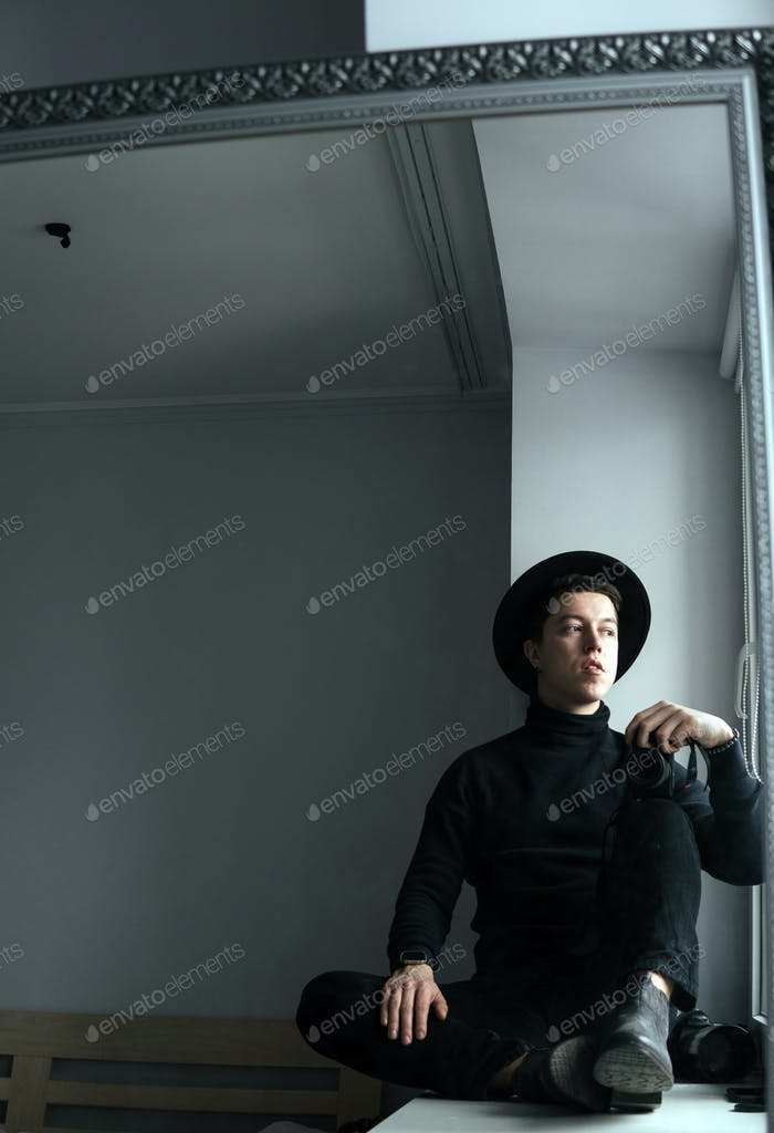 man in black clothes