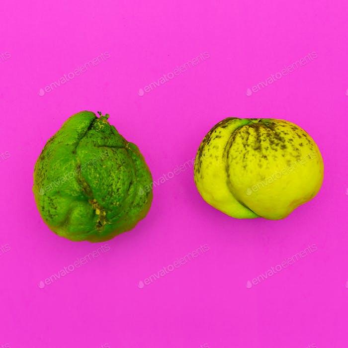 Couple Ugly lime and lemon. Minimal art