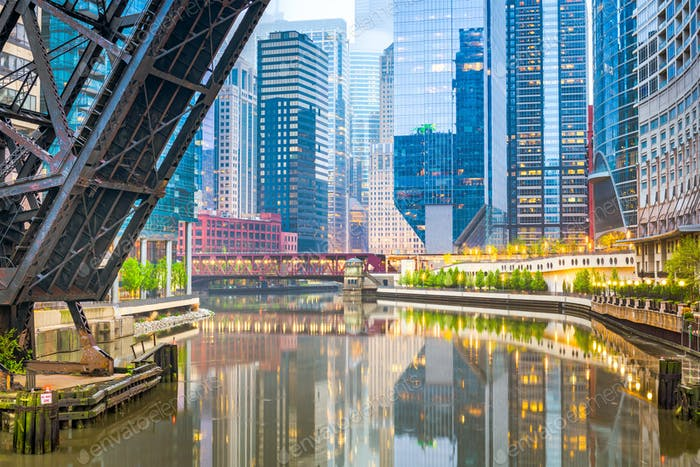 Chicago, Illinois, USA cityscape on the river