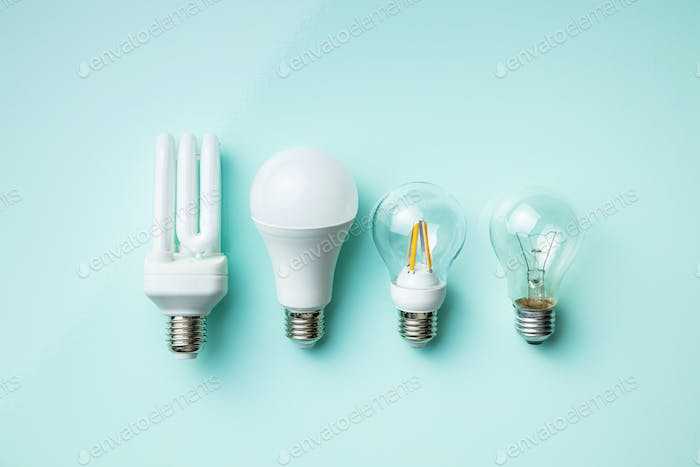 Energy saving and classic light bulbs.