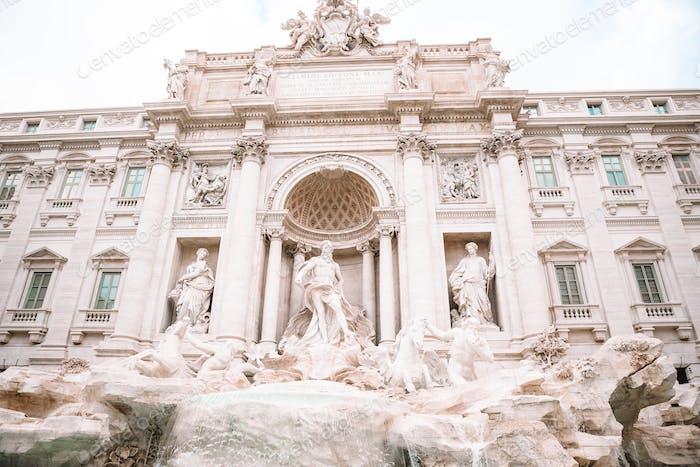Beautiful Fountain de Trevi in Rome, Italy - the most popular area in Rome