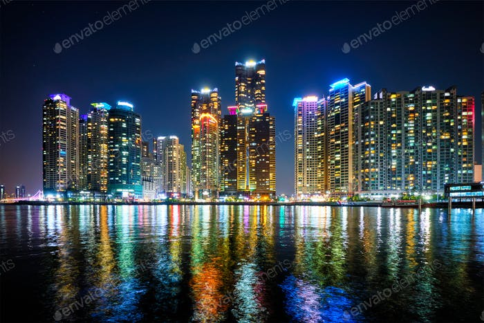 Busan Marina city skyscrapers illluminated in night