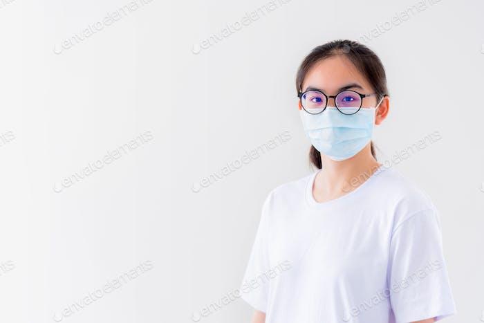 Asiatische Frau tragen Maske Anti-Virus
