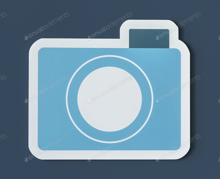 Icon of blue paper camera