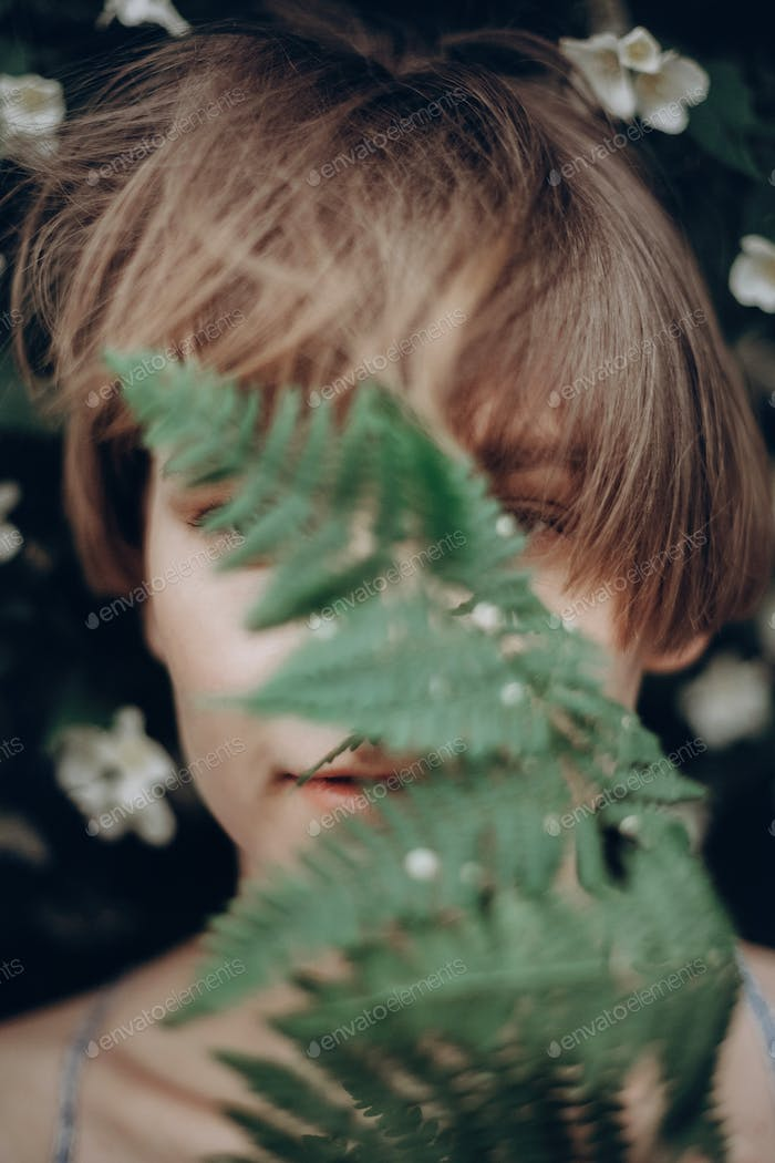 Girl portrait with natural herb