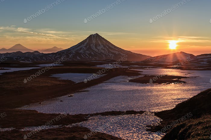 Volcanic Landscape of Kamchatka Peninsula, Sunrise over Vilyuchinsky Volcano