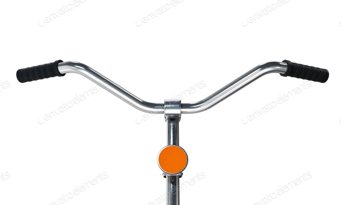 Bicycle handlebars isolated on white background.