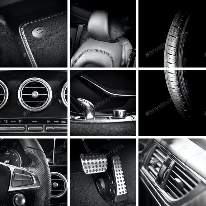 Car interior details collage