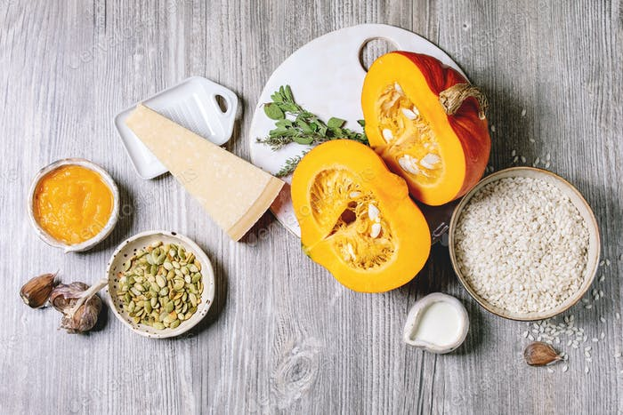 Ingredients for pumpkin risotto