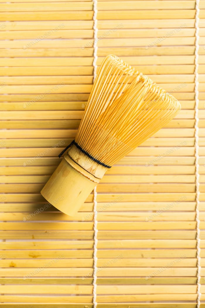 Bamboo whisk for matcha tea.