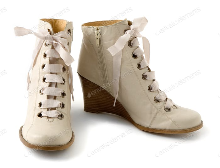 Wooden wedge white leather zipped ankle boots