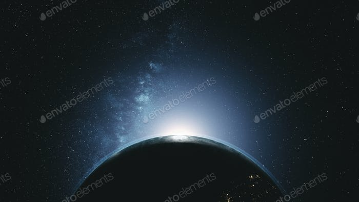 Majestic rotate earth orbit sunlight glow galaxy