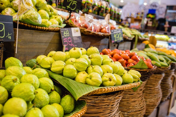 Fresh Guavas For Sale At Local Market