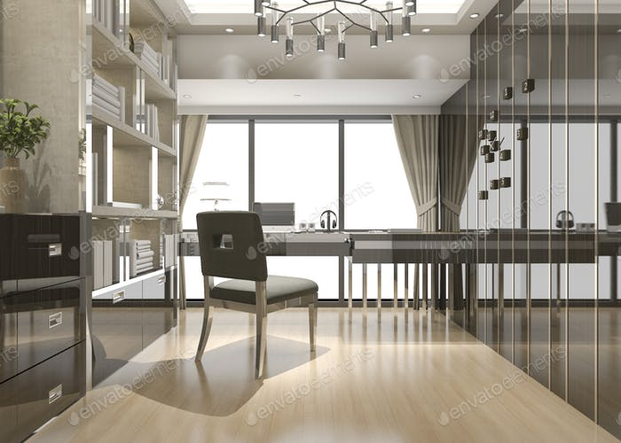 3D representación reunión de negocios y sala de trabajo en la oficina en casa