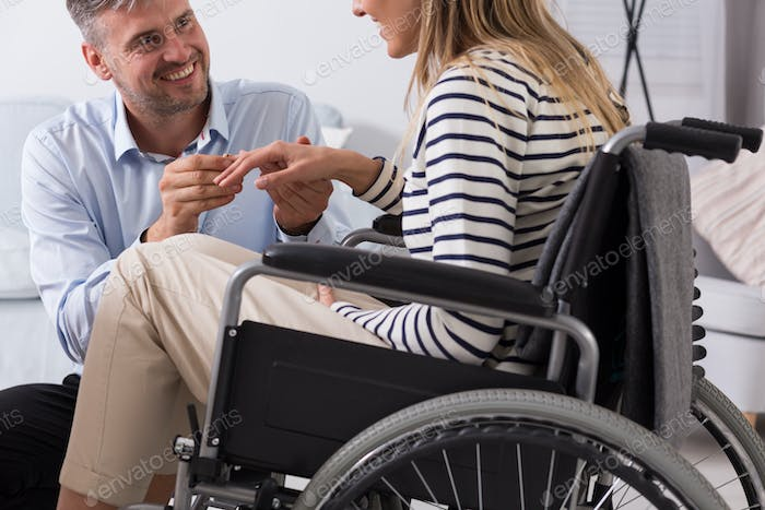 Engagement of women on a wheelchair